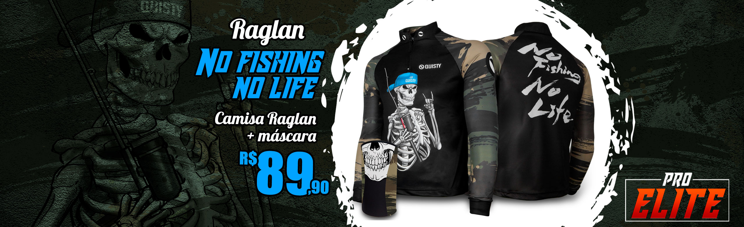 Camisa Raglan No Fishing No Life Banner