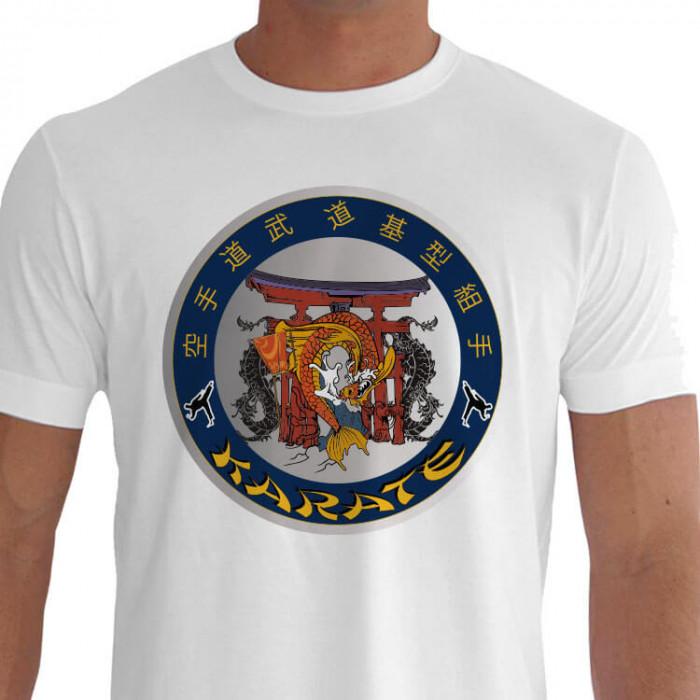 Camiseta - Karatê - Templo Karatê Carpas Símbolo de Fertilidade e Prosperidade Kanjis