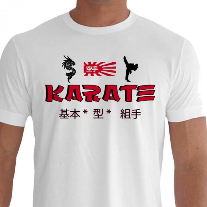 Camiseta - Karatê - Chutes dos Karatecas Treinamento Situações do Cotidiano Bandeira Naval Kanji