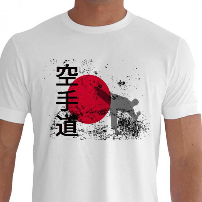 Camiseta - Karatê - Treinamento Sol Nascente Lutador Chute Calcanhar de Cima para Baixo Kanji