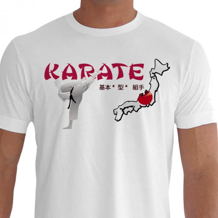 Camiseta - Karatê - Arte Marcial Japonesa Mapa Japão Mestre Dando um Keri Pancada com o Pé