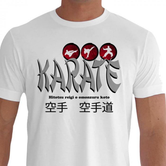Camiseta - Karatê - Karateca Dois Golpes de Perna e uma Postura Hitotsu Reigi o Omonzuru Koto Primeiro Respeito Acima de Tudo