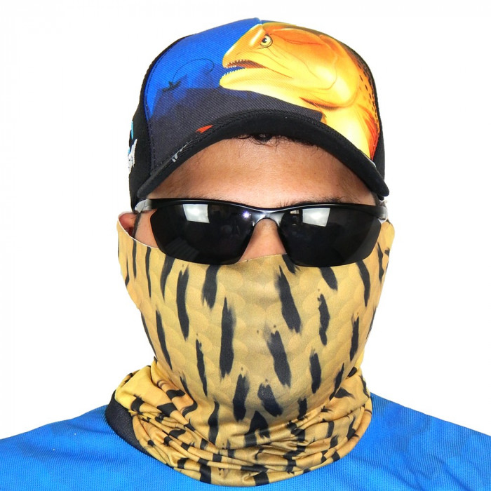 Máscara de Proteção Solar Escamas Dourado o Rei do Rio UV 50 PROTECTION - Pesca Esportiva