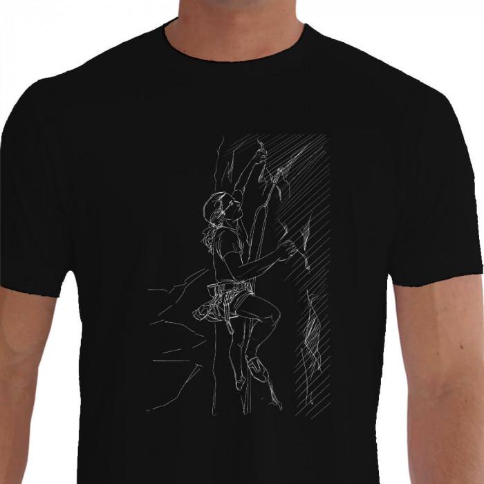 Camiseta - Escalada - Mulher Escaladora Estampa Arte a Lápis Montanha Preta