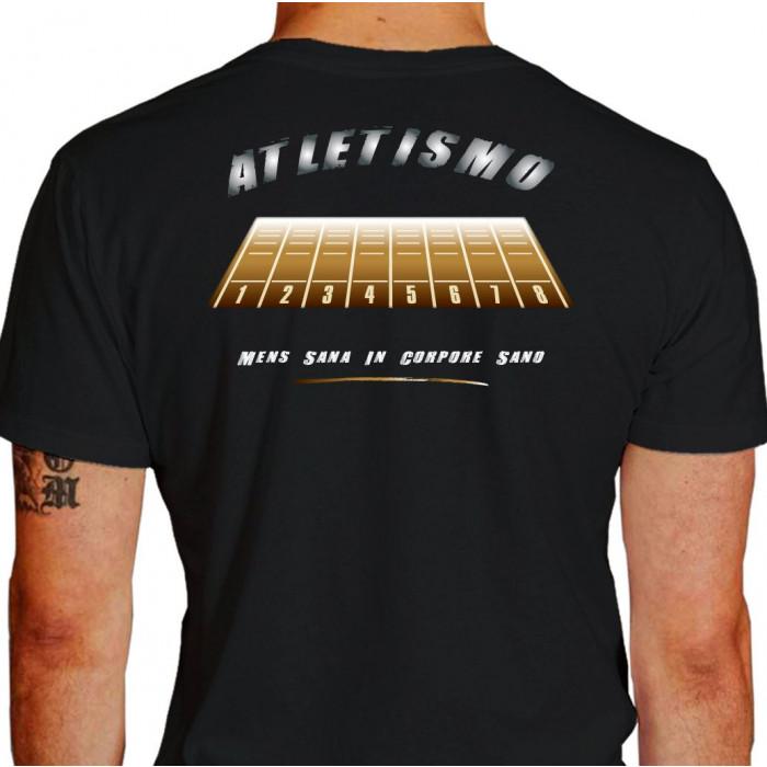 Camiseta - Corrida - Pista de Atletismo Raias Mens Sana in Corpore Sano Atleta Costas Preta