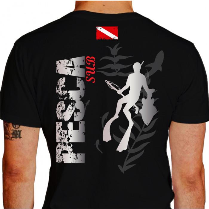 Camiseta - Pesca Submarina - Caçador Peixe e Arpão na Mão Plantas do Mar Bandeira Mergulhador Submerso - preta