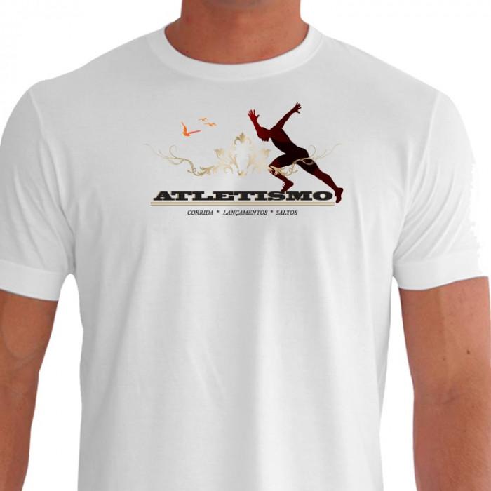 Camiseta - Corrida - Estampa Atletismo Corredor Explosão Músculos Corrida Lançamentos e Saltos Frente Branca