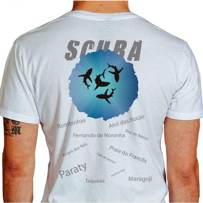 Camiseta - Mergulho - Melhores Lugares do Brasil para Mergulhar - branca