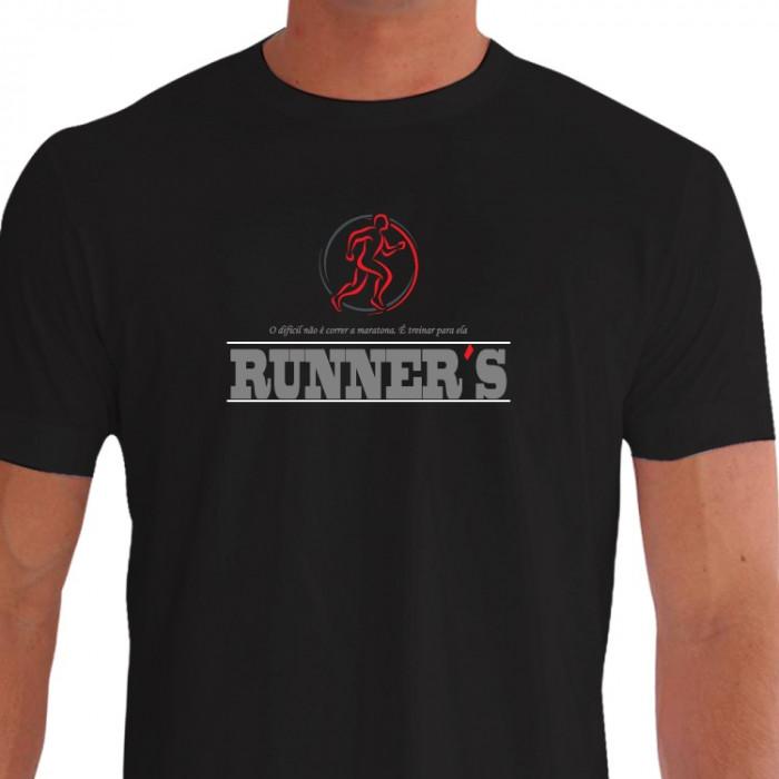 Camiseta - Corrida - Corredores Runner´s O Difícil não é Correr a Maratona é Treinar para Ela Frente Preta