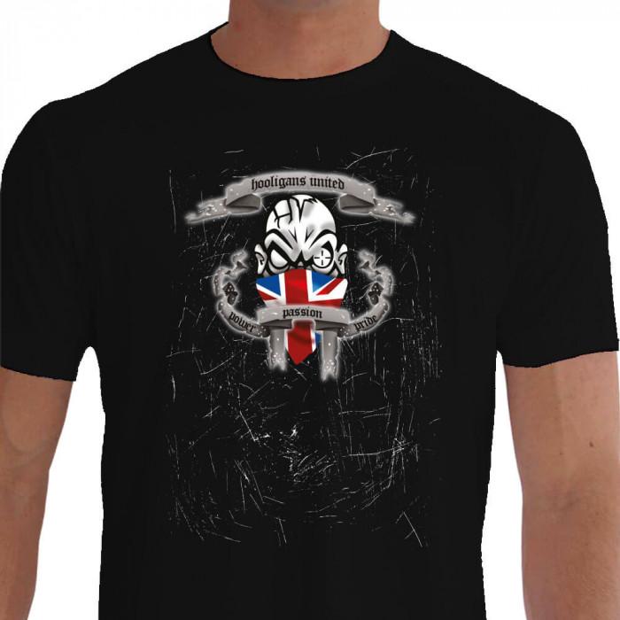 Camiseta - Futebol - Bandeira Inglaterra Hooligans United Power Passion Pride Preta