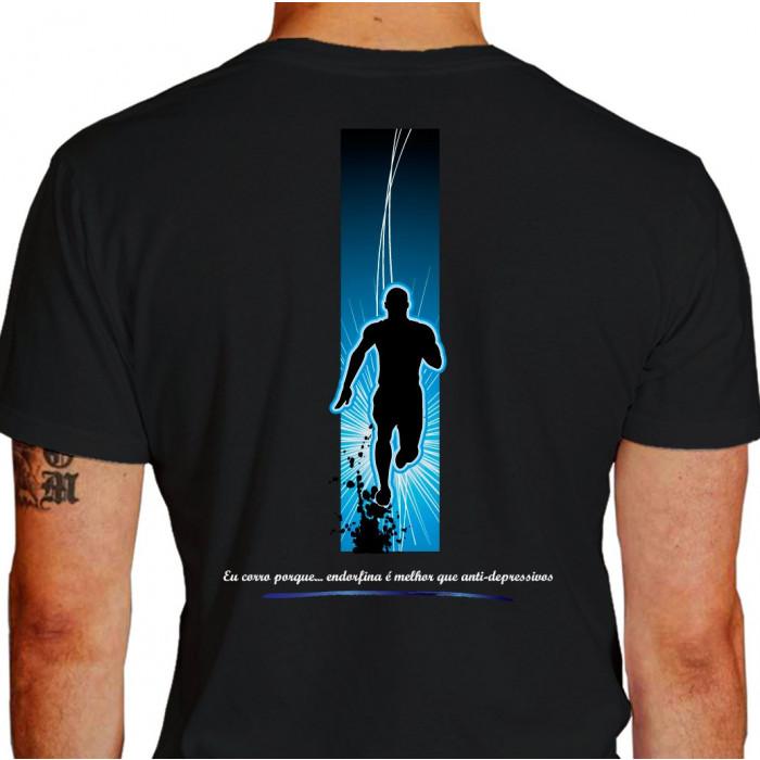 Camiseta - Corrida - Corredor Ilustração Fundo Frase Eu Corro Porque Endorfina é Melhor que Anti-Depressivos Costas Preta