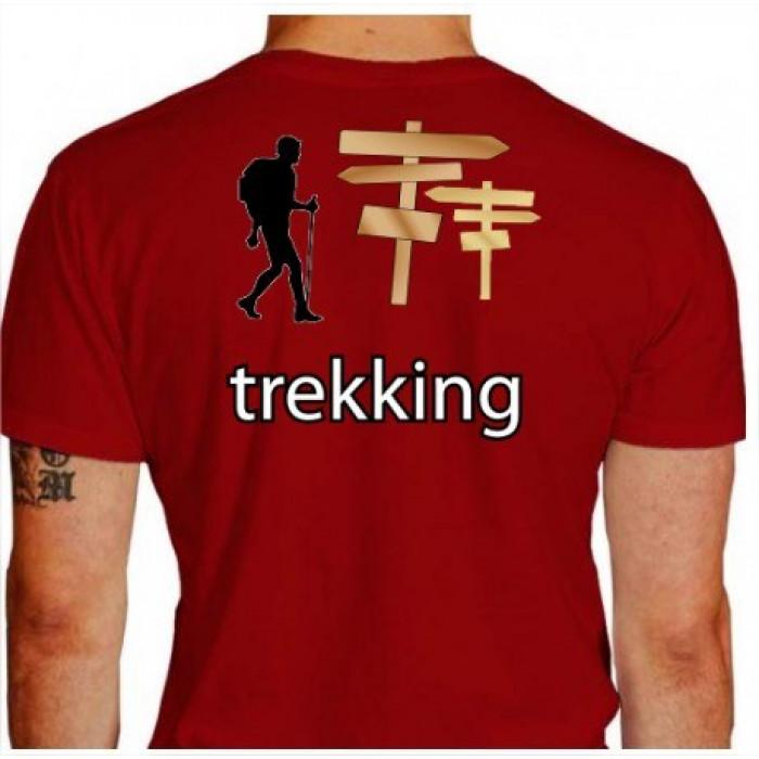 Camiseta - Trekking - Trekkeiro na Caminhada Placas Indicando Costas Vermelha