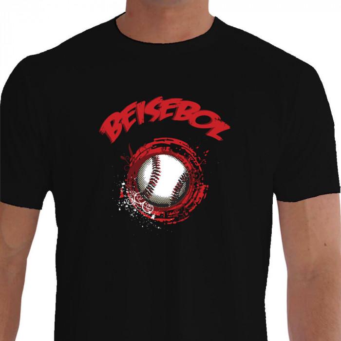 Camiseta - Beisebol - Ilustração Bola Efeito Baseball Preta