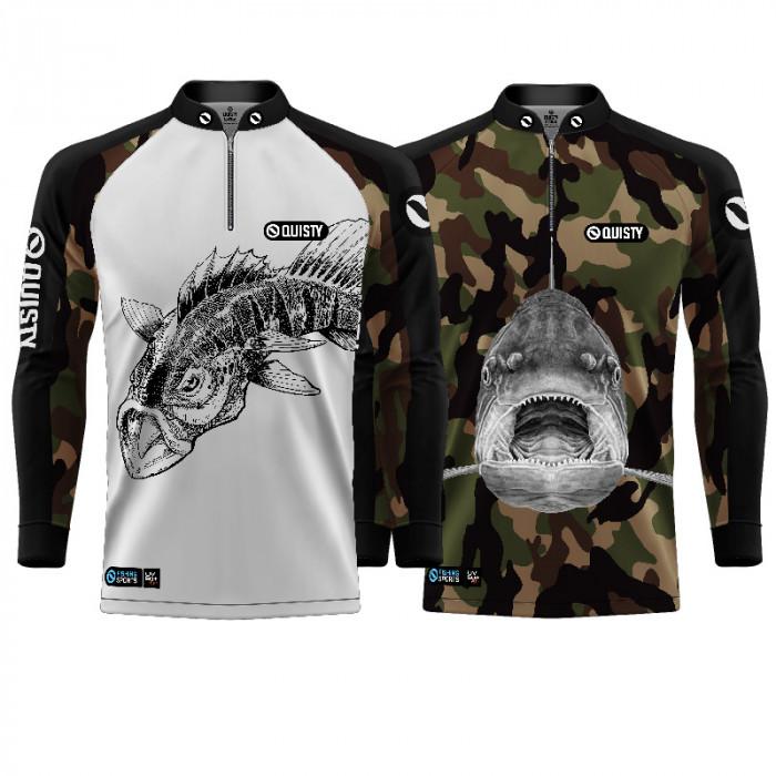 Combo Dia dos Pais Camisa Pro Elite Tucunaré White + Pro Elite Dourado Pantanal Pesca Esportiva DryUv50 + Punho Luva