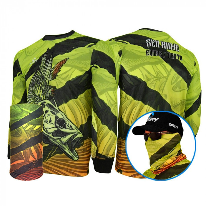 Combo Tucunaré Skull Fishing - CAMISA E MÁSCARA DRY UV 50 PROTECTION