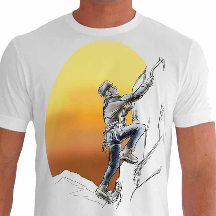 Camiseta - Escalada - Sol no Fundo Escalando Alta Montanha - branca