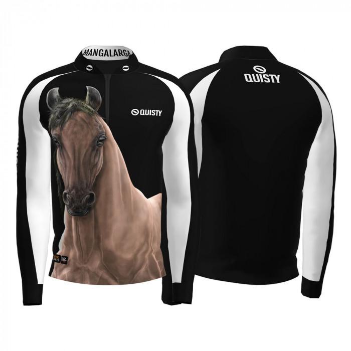 Camisa Premium Pro Elite Cavalgada Mangalarga Marchador Pardo DryUv50+ + Punho de Luva