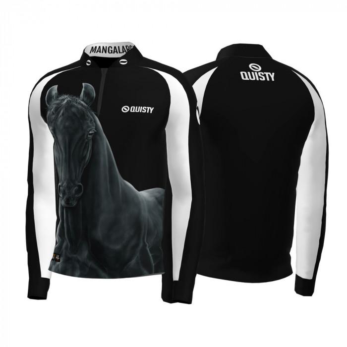 Camisa Premium Pro Elite Cavalgada Mangalarga Marchador Black DryUv50+ + Punho de Luva