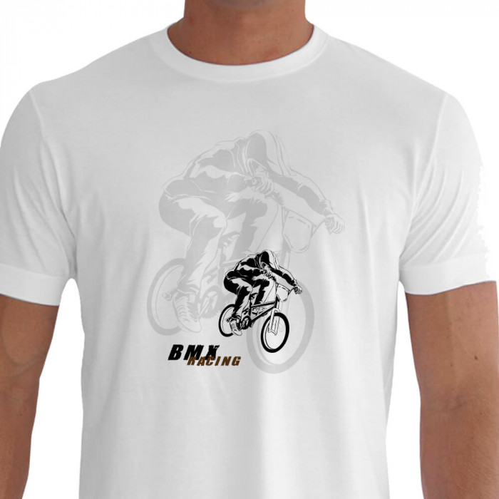 Camiseta - BMX Racing - Piloto Pedalando Explosão Física Fundo Sombra Branca