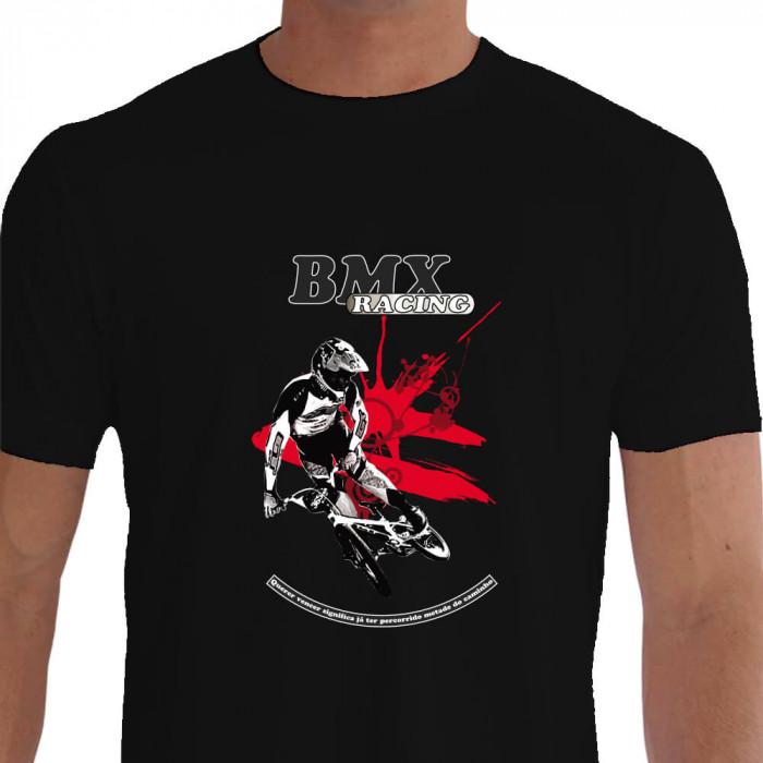 Camiseta - BMX Racing - Piloto Salto Bicicross Querer Vencer Significa já ter Percorrido Metade do Caminho - preta