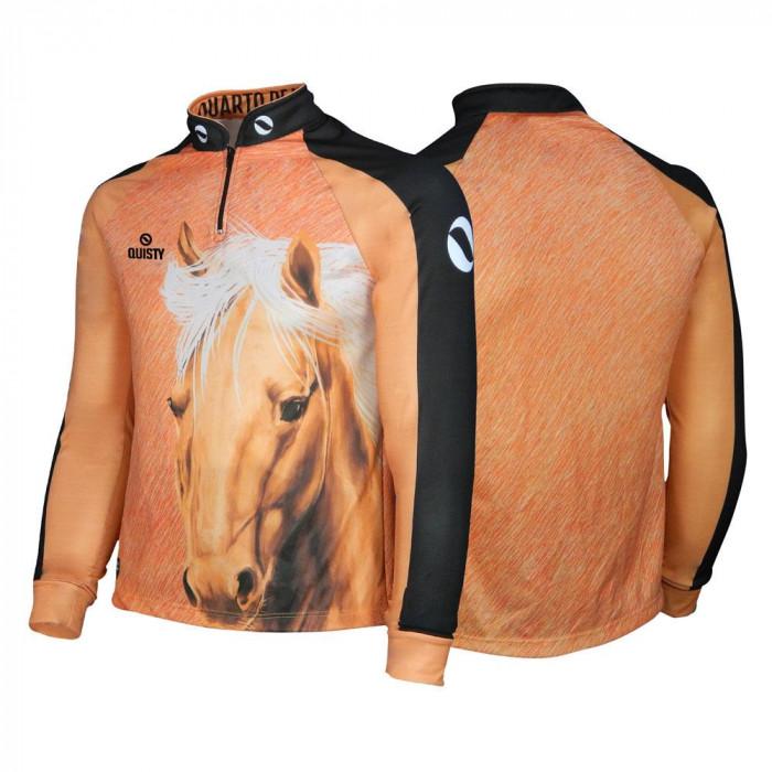 Camisa Premium Pro Elite Cavalgada Quarto de Milha Marrom DryUv50+ + Punho de Luva