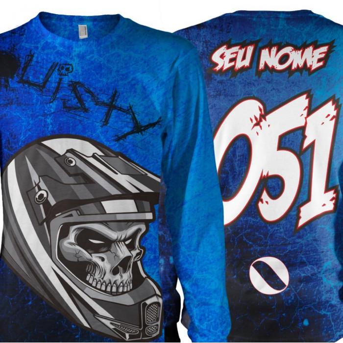 Camisa Caveira Personal Motocross Dry Fit + Proteção UV