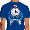Camiseta - Mergulho - Nadadeiras Escotilha Mergulhador Safo Scuba Diving Costas Azul