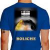 Camiseta - Boliche - Imagem Foto Ilustração Realista Bola Pintada Fogo Costas Azul