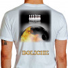 Camiseta - Boliche - Imagem Foto Ilustração Realista Bola Pintada Fogo Costas Branca