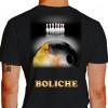 Camiseta - Boliche - Imagem Foto Ilustração Realista Bola Pintada Fogo Costas Preta