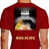 Camiseta - Boliche - Imagem Foto Ilustração Realista Bola Pintada Fogo Costas Vermelha