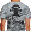 Camiseta - Kart - Malha Efeito Marca de Pneu na Pista Chassis Karting Costas Cinza