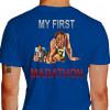 Camiseta - Corrida - Minha Primeira Maratona Corredores no Limite e Exaustos Run a Marathon Costas Azul