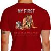Camiseta - Corrida - Minha Primeira Maratona Corredores no Limite e Exaustos Run a Marathon Costas Vermelha