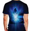 Camiseta - Surf - Surfista Dando um Aéreo Onda Efeito Luz Costas Azul