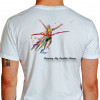 Camiseta - Corrida - Corredor Cruzando Linha de Chegada Comemoração Vitória Running My Troubles Away Costas Branca