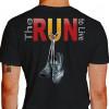 Camiseta - Corrida - Tênis de Corrida Pendurado Descansando The Run to Live Costas Preta
