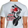 Camiseta - Spinning - Aluno Pedalando na Aula Frase Disciplina é Ponte que Liga Nossos Sonhos as Nossas Realizações Costas Branca