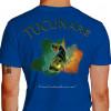 Camiseta - Pesca Esportiva - Peixe Tucunaré Mapa da Amazônia No Visual a Adrenalina vai a Mil - azul