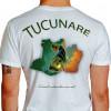 Camiseta - Pesca Esportiva - Peixe Tucunaré Mapa da Amazônia No Visual a Adrenalina vai a Mil - branca