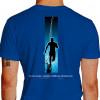 Camiseta - Corrida - Corredor Ilustração Fundo Frase Eu Corro Porque Endorfina é Melhor que Anti-Depressivos Costas Azul