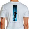 Camiseta - Corrida - Corredor Ilustração Fundo Frase Eu Corro Porque Endorfina é Melhor que Anti-Depressivos Costas Branca
