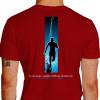 Camiseta - Corrida - Corredor Ilustração Fundo Frase Eu Corro Porque Endorfina é Melhor que Anti-Depressivos Costas Vermelha
