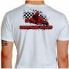 Camiseta - Kart - Bandeirada Chegada Piloto Cartismo Frase Drive, Hard & Fast Costas Branca