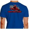 Camiseta - Kart - Bandeirada Chegada Piloto Cartismo Frase Drive, Hard & Fast Costas Azul