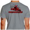Camiseta - Kart - Bandeirada Chegada Piloto Cartismo Frase Drive, Hard & Fast Costas Cinza