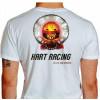 Camiseta - Kart - Caveira Piloto Efeito Fogo Capacete Catraca e Corrente Racing is in my Blood Costas Branca