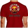 Camiseta - Kart - Caveira Piloto Efeito Fogo Capacete Catraca e Corrente Racing is in my Blood Costas Vermelha