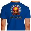 Camiseta - Kart - Caveira Piloto Efeito Fogo Capacete Catraca e Corrente Racing is in my Blood Costas Azul