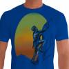 Camiseta - Escalada - Sol no Fundo Escalando Alta Montanha - azul